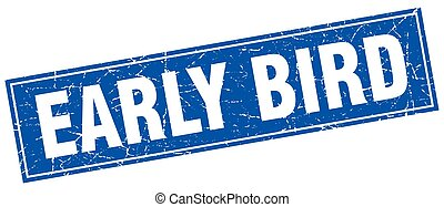 early bird square stamp