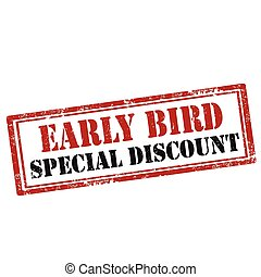 Early Bird-stamp - Grunge rubber stamp with text Early Bird-...