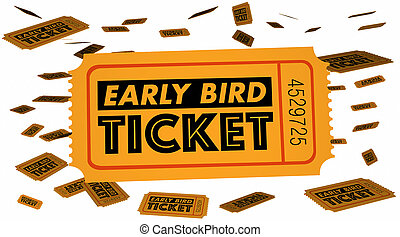 Early Bird Ticket Advance Sales Discount 3d Illustration