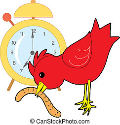 Early Bird Worm - Red bird catching a worm with an alarm...