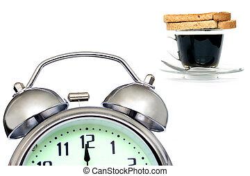 Early Breakfast - Alarm clock , cofee and toast