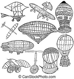 Early flying machines - Sketch of different early flying...