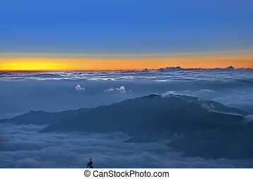 Early in the morning a sea of clouds,