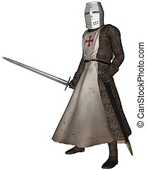 Early Medieval Templar Knight in chain mail and tabard of the order of the Knights of the Temple of King Solomon, 3d digitally rendered illustration