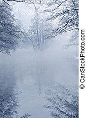 early mornig at beutiful winter day at river and lake