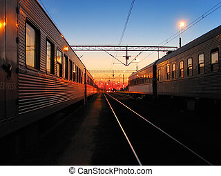 Early morning at the railroad stat - Early morning at the...