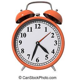 Early Morning - Classic Alarm Clock, orange isolated on...