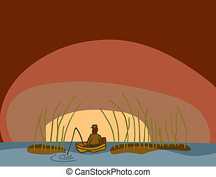 Man in boat with fishing rod among tall reeds at sunrise