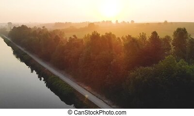 morning flight above river
