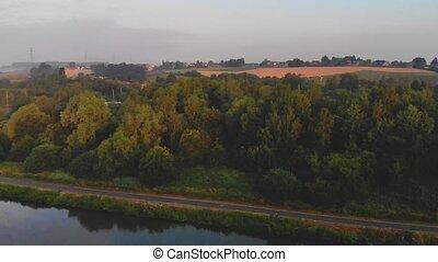 morning flight above river - early morning flight above...