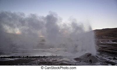 Early Morning Geyser - Geyser letting off steam in the El...