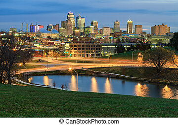 Early Morning in Kansas City - An elevated view of an early...