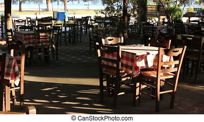 Early morning in outside traditional tavern restaurant -...