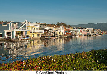 Early morning in Sausalito, CA. Sausalito is a picturesque ...