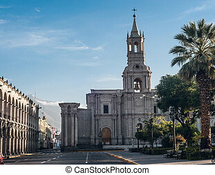 Early morning in the city Arequipa in southern Peru and Volcano El Misti overlooks