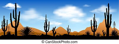 Early morning in the desert - Stony desert with cactuses...