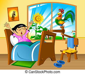 Little girl woke up in a nightie and yawns. vector illustration;