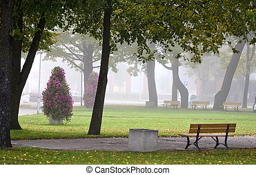early morning mist in city square
