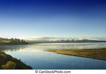 Early morning mist on Lake Alamanor