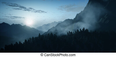 early morning mountain - An image of an early morning...