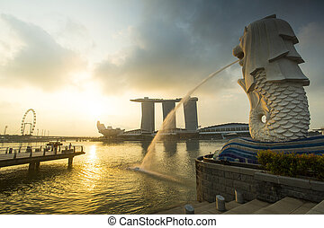 Early morning of Merlion Statue Landmark Singapore country