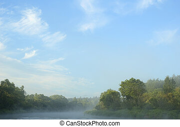 early morning on  bank of the river