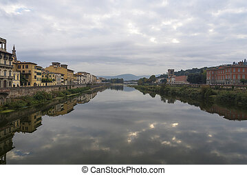 Early morning on the Arno river in Florence.