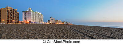 Early Morning on Virginia Beach - Sunrise on the beach in...