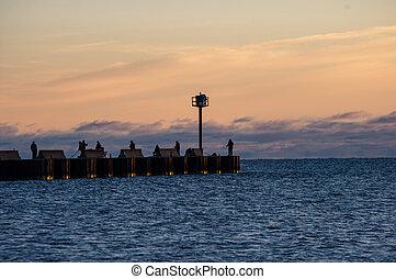 Early morning pier fishing.