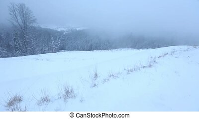 Early morning predown winter mountain landscape