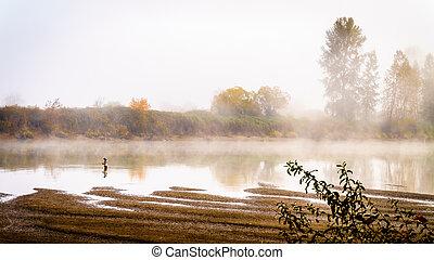 Early Morning Salmon Fishing in Fog