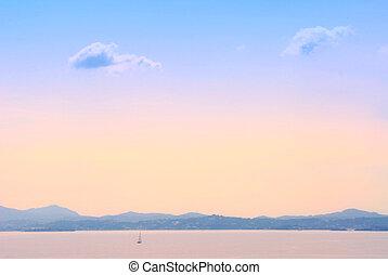 Early morning sea landscape background in Kerkyra, Greece