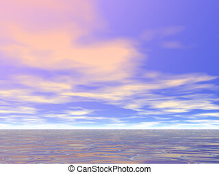 Early Morning Sky - Warm clouds over the sea