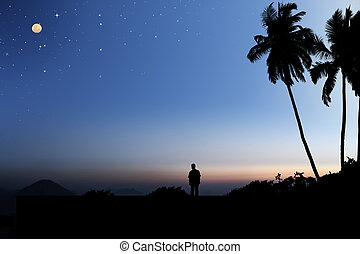 Early morning sky with moon and stars and a person looking...
