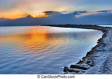 Early morning. -  Sunrise on the Dead Sea in Israel