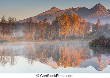 Early morning sunrise in high Tatra mountains