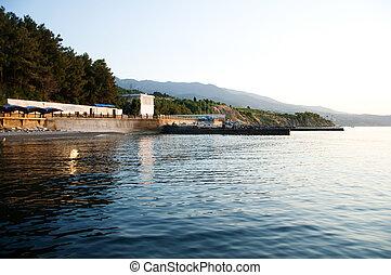 Early morning the Black Sea coast, the Crimean resort