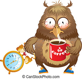 Early morning time - funny owl with cup of coffee and alarm clock in its hands.