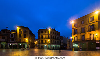 Early morning view of city square. Segovia