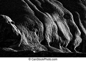 Early morning view of rocks at Ameib, Namibia. Monochrome