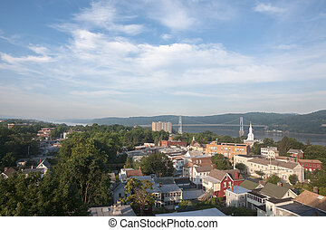 Poughkeepsie, NY - Early morning view of the Mid Hudson ...