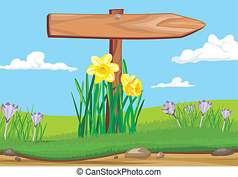 early morning - wooden signpost - blooming flowers, roadside...