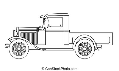 An early old fashioned pickup truck over a white background