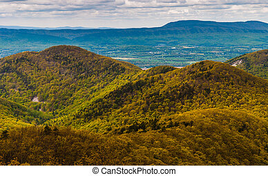 Early spring colors in the Blue Ridge Mountains seen from Skyline Drive in Shenandoah National Park, Virginia.