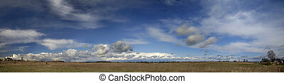 Early spring countryside panorama