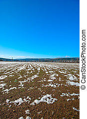 Early spring. Field of unmelted snow under the blue sky
