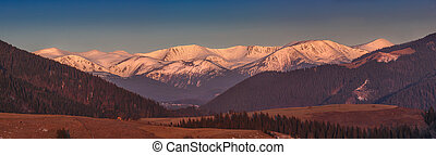 Early spring landscape in the mountains.