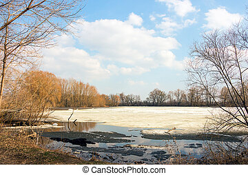 Early spring, the forest lake is freed of ice