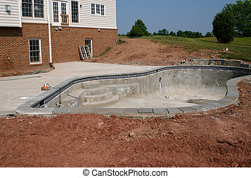 Creating a concrete swimming pool in residential back yard