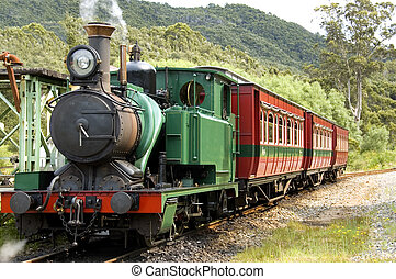 Early Steam Train - A pioneer steam train in the wilderness